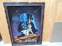 1970s Original Star Wars Oil Painting Black Velvet Darth Vader Skywalker Leia