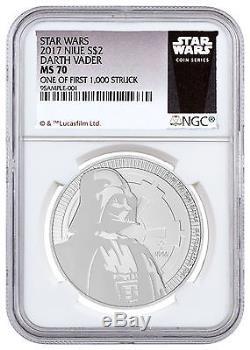2017 Niue 1 oz Silver Star Wars Darth Vader $2 NGC MS70 1/First 1,000 SKU48065