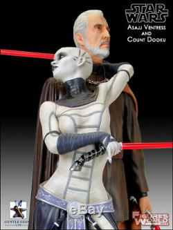 Gentle Giant Star Wars Clone Wars Asajj Ventress And Count Dooku 1/6 Statue New
