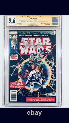 STAR WARS #1 CGC-SS 9.6 SIGNED 8x CARRIE FISHER MARK HAMILL PROWSE MCDIARM 1977