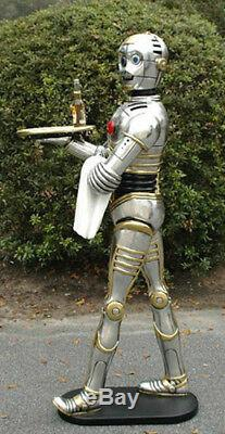 Silver Robot With Tray 3 Foot Statue Movie C3PO Star Wars Butler Kitchen Bar Use