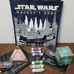 Star Wars Galaxys Edge Jedi & Sith Holocron, Complete Kyber Crystal Set & Bag